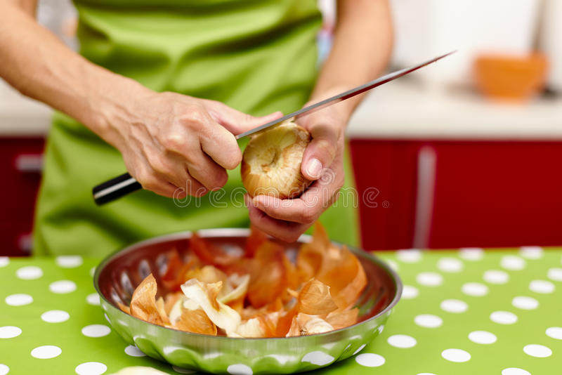 Download Woman peeling onions stock image. Image of adult, tear - 37503855