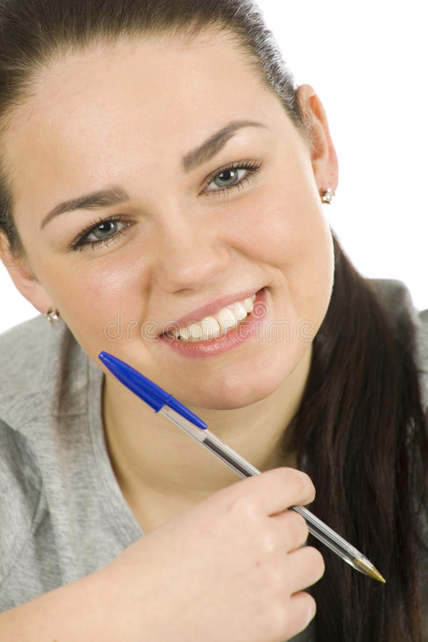 Woman With A Pen Royalty Free Stock Image