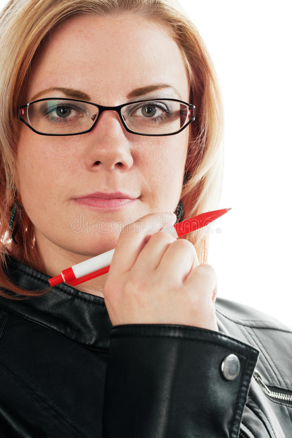 Woman with pen stock image