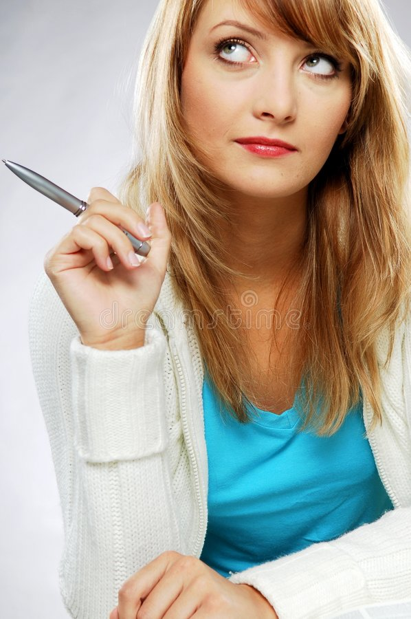 Download Woman with pen stock image. Image of write, face, hair - 2706979