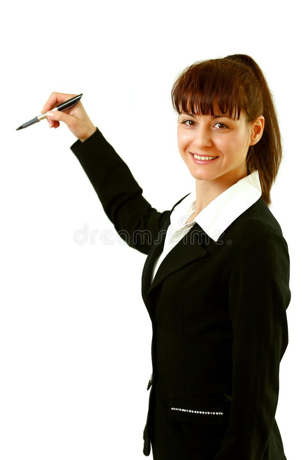 Woman with pen royalty free stock photo