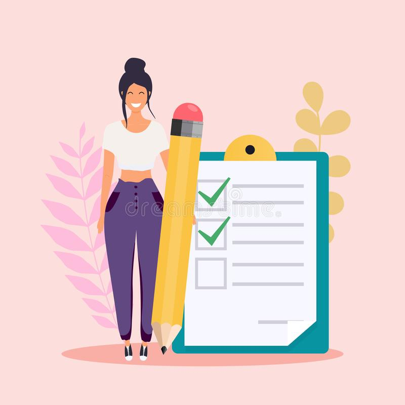 Woman with pencil marked checklist on a clipboard paper. Flat design modern vector illustration concept stock illustration
