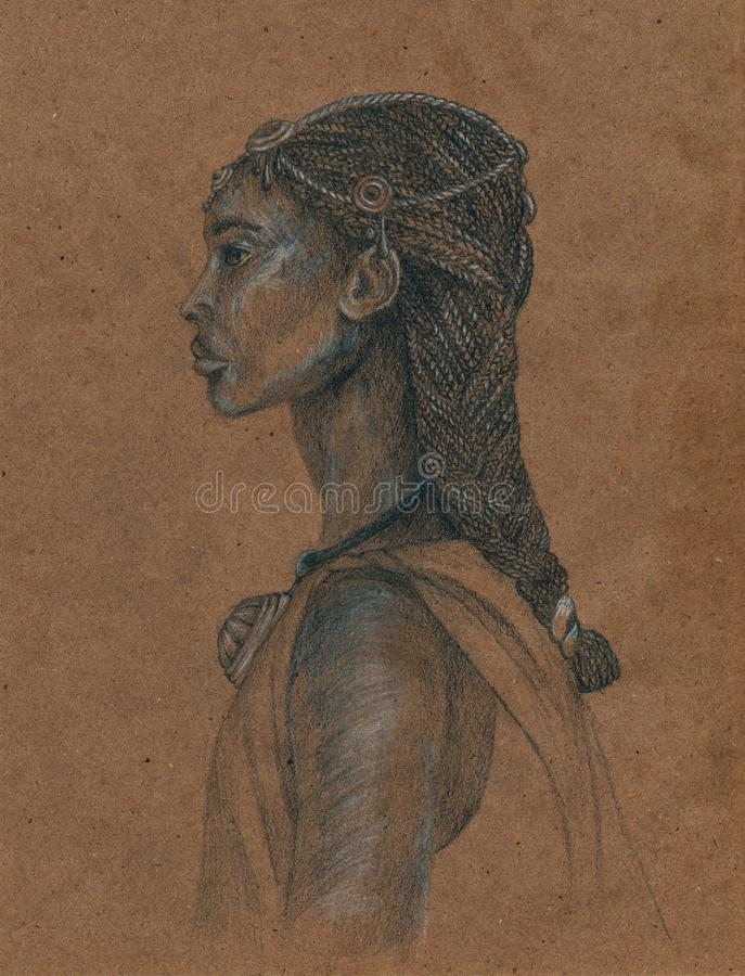 African woman. Sketch on craft paper. The woman of the people of Amhara. Sketch on craft paper royalty free illustration