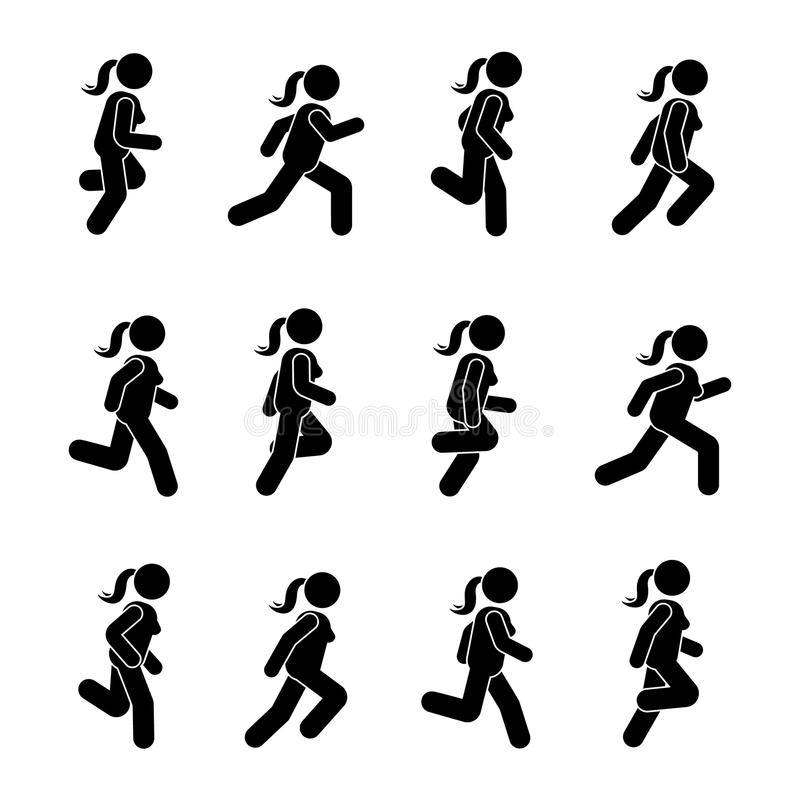 Woman people various running position. Posture stick figure. Vector illustration of posing person icon symbol sign pictogram. stock illustration