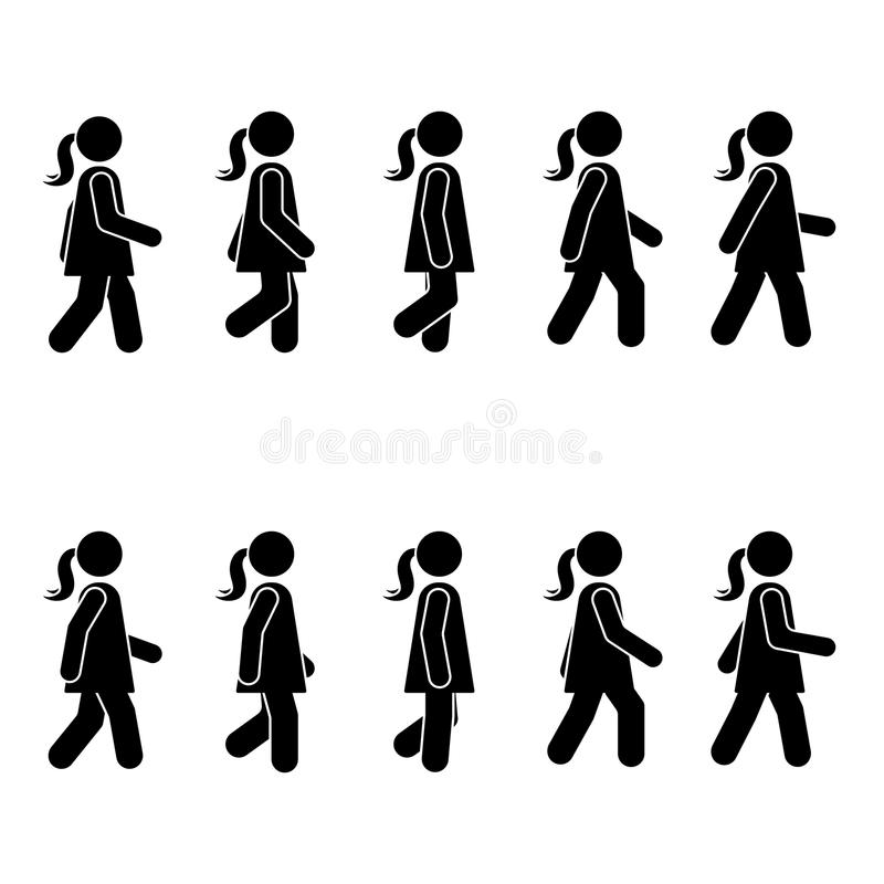 Woman people various walking position. Posture stick figure. Vector standing person icon symbol sign pictogram on white. Woman people various walking position vector illustration