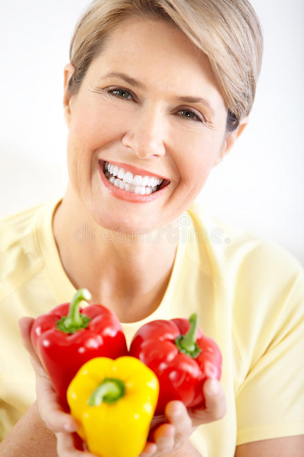 Woman with pepper royalty free stock photos