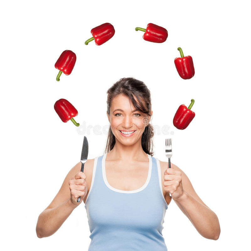 Woman with pepper stock photo