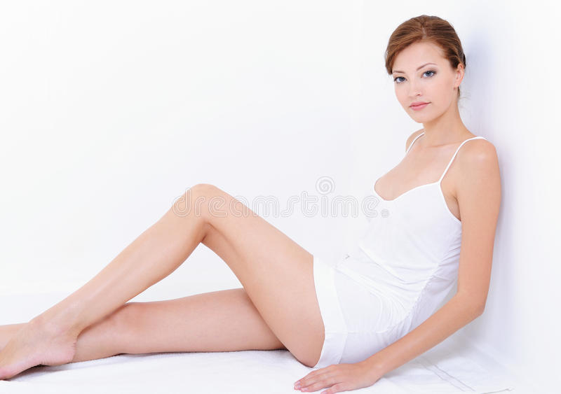 Download Woman With Perfect  Body In Whit Combinations Royalty Free Stock Photography - Image: 10058857