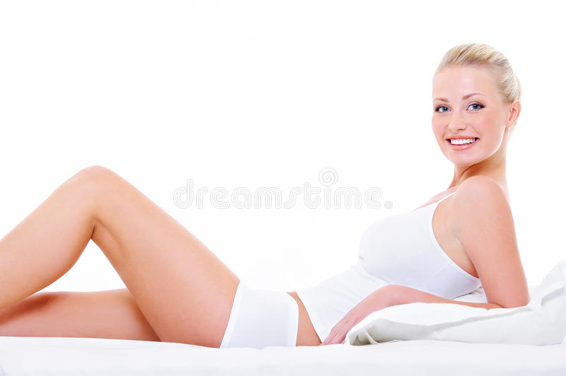 Download Woman With Perfect Legs In White Lingerie Stock Photo - Image: 11255130