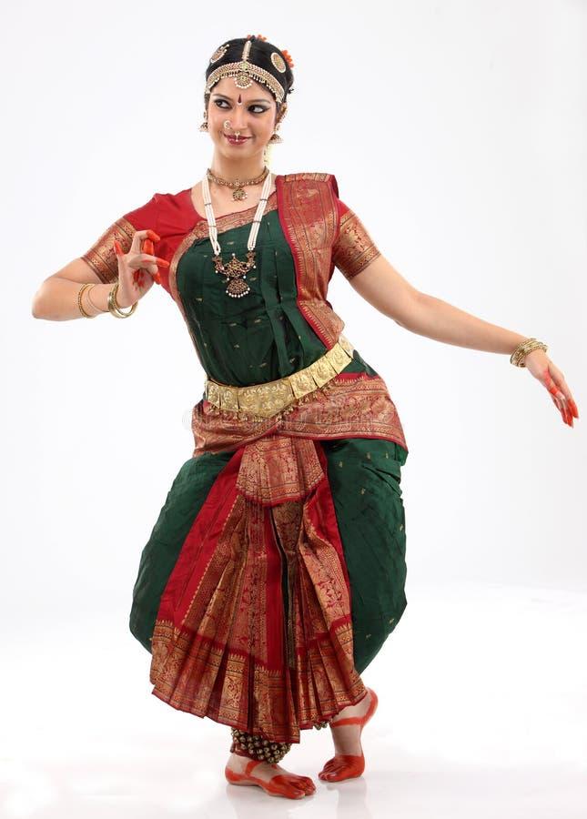Woman performing bharatanatyam dance stock photo