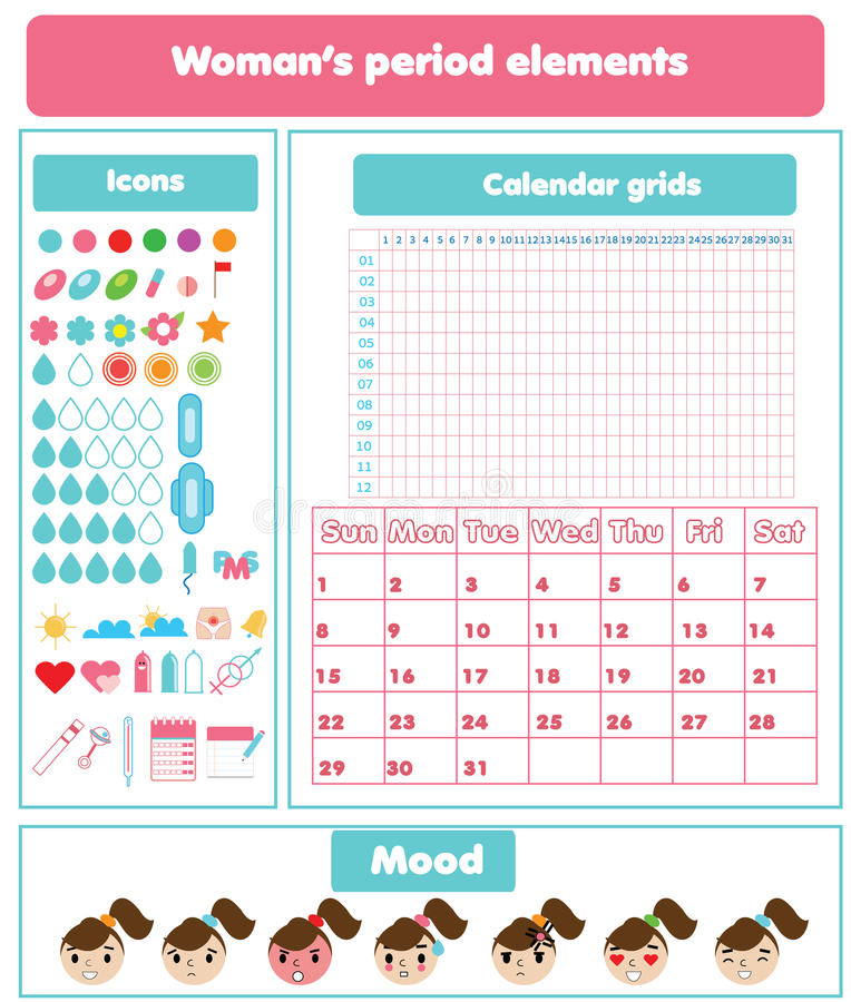 Woman period elements set. Woman menstrual period design elements set. Calendar grids, icons and emoji set for mobile and web applications, gynecological vector illustration