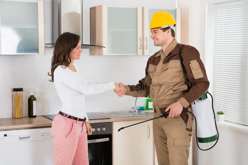 Woman And Pest Control Worker Shaking Hands. Happy Woman And Young Pest Control Worker Shaking Hands To Each Other In Kitchen Room royalty free stock images