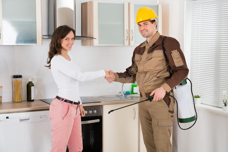 Woman And Pest Control Worker Shaking Hands. Happy Woman And Young Pest Control Worker Shaking Hands To Each Other In Kitchen Room stock photo