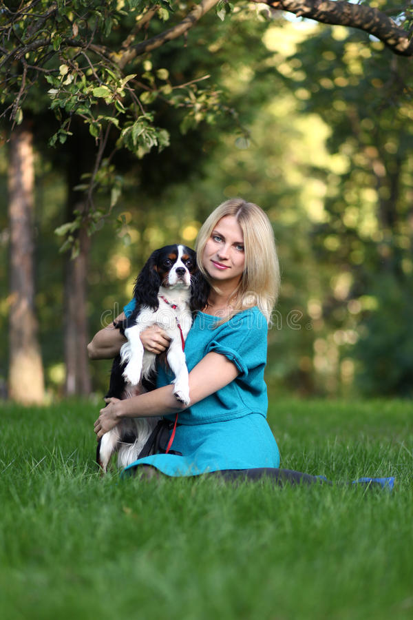 Woman with pet stock images