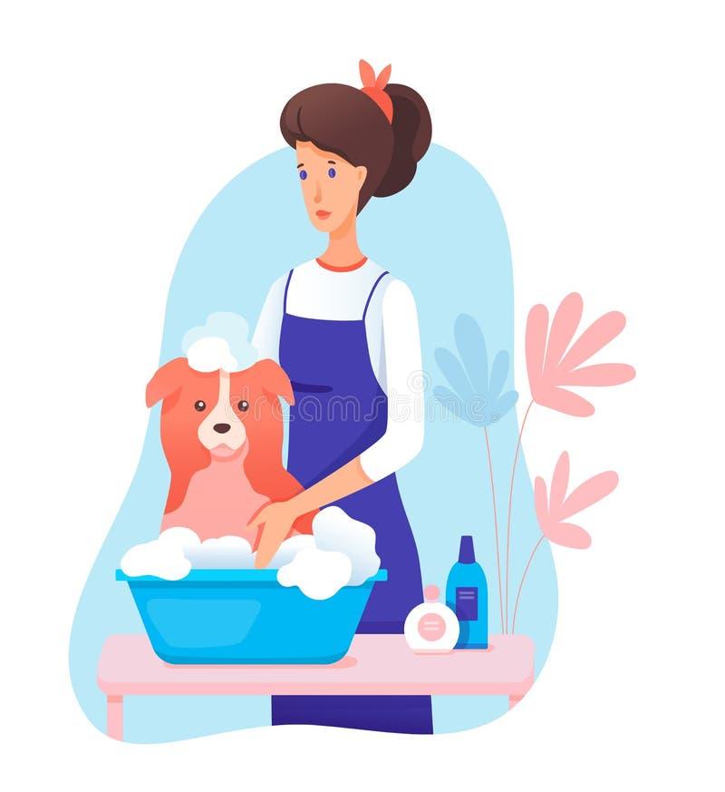 Woman pet groomer in apron washing dog cartoon stock illustration