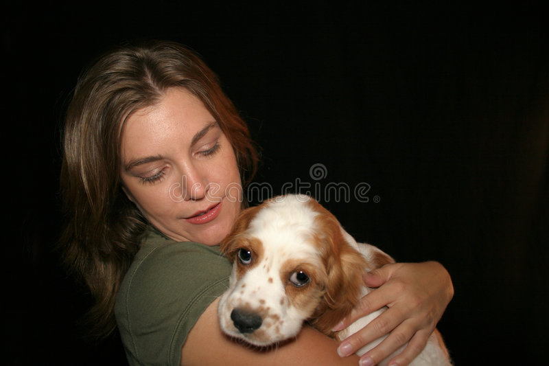 Woman Petting Dog. Woman holding cocker spaniel stock photos