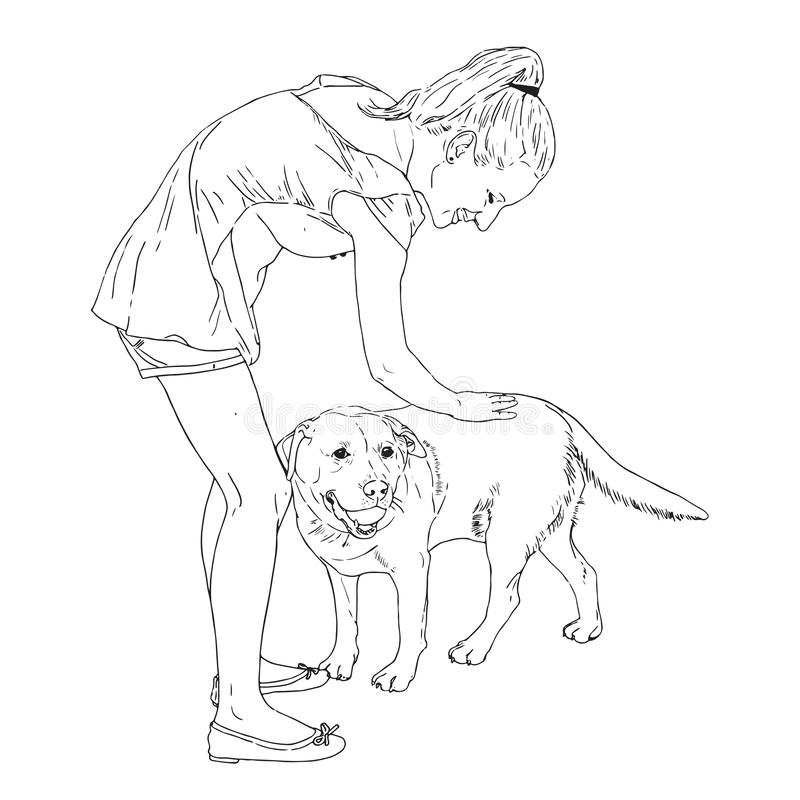 Woman petting a dog, enjoys, loves her. Vector hand drawn illustration of woman petting a dog, enjoys, loves her royalty free illustration