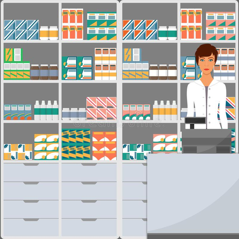 Woman pharmacist in a pharmacy opposite the shelves with medicines. Vector illustration in flat style. stock illustration