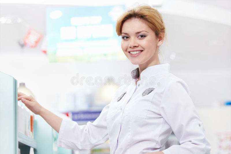 The Woman At The Pharmacy Royalty Free Stock Photos