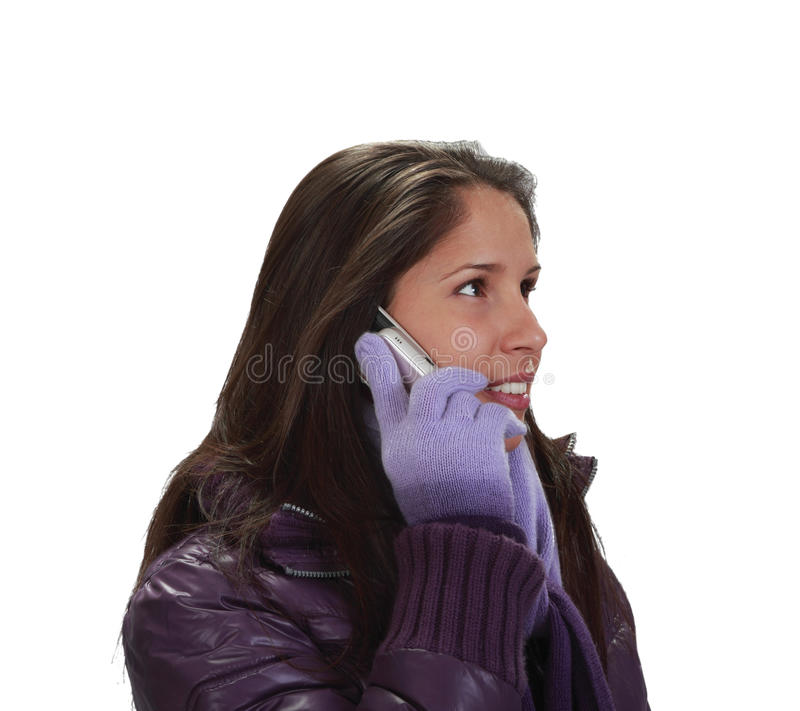 Woman on the phone stock images