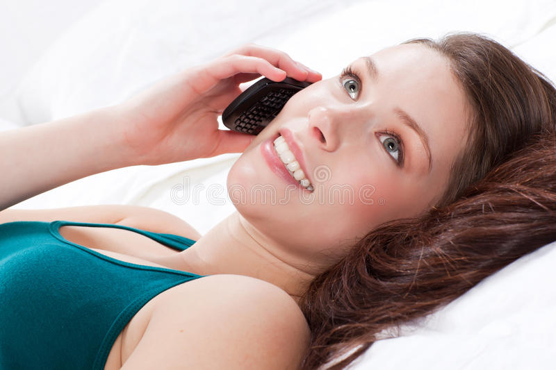Woman on the phone royalty free stock image