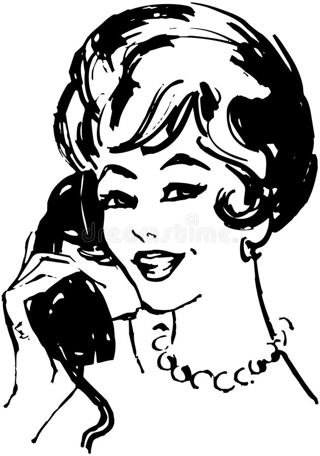 Woman On The Phone royalty free illustration