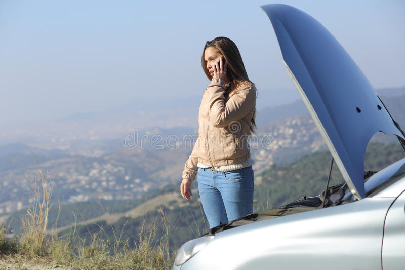Download Woman On The Phone Beside A Breakdown Car Stock Image - Image of asking, driver: 39076651