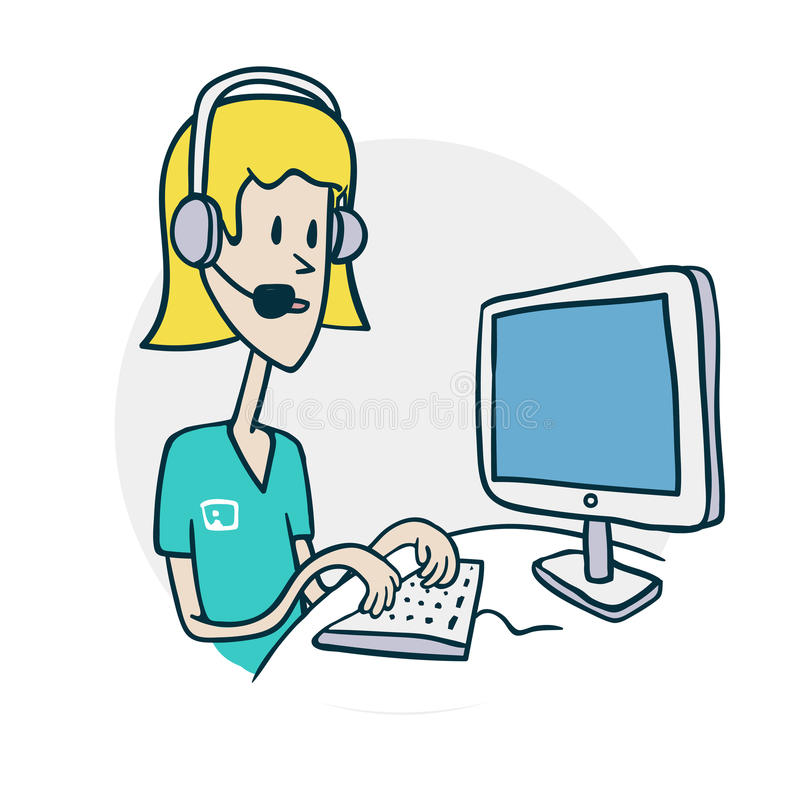 Woman with phone at computer royalty free illustration