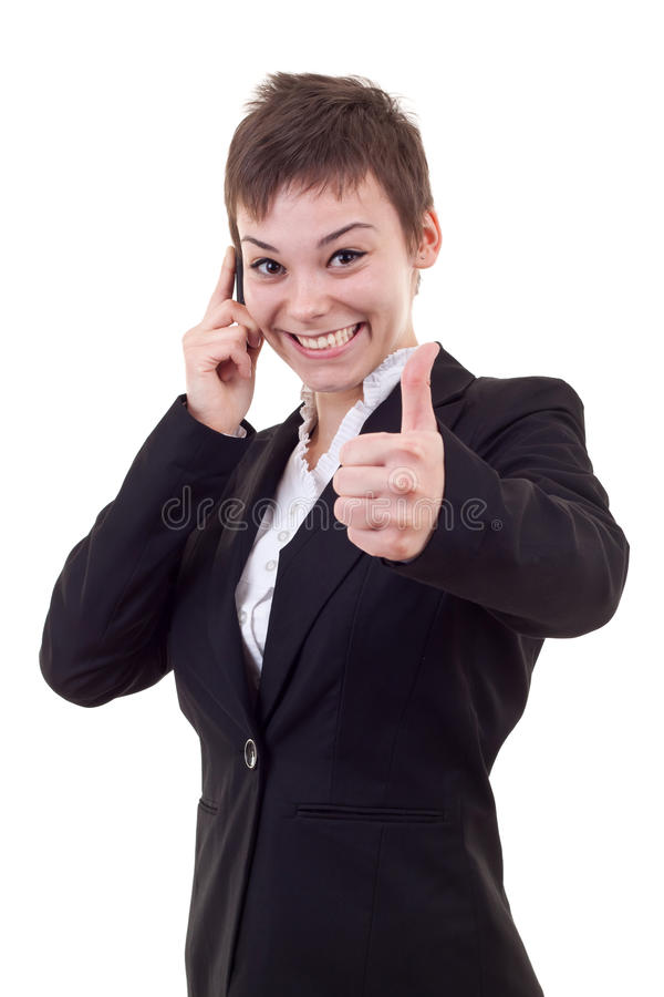 Woman with phone and thumbs up. Happy business woman with phone and thumbs up gesture, isolated royalty free stock images
