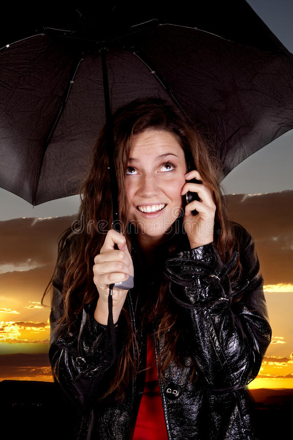 Download Woman On Phone Under Umbrella Stock Image - Image: 16941813