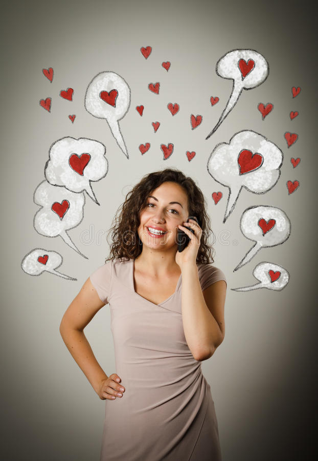 Woman on the phone. Valentine day. stock images