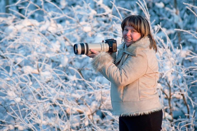 Download Woman with photo camera stock photo. Image of happy, happiness - 12742800