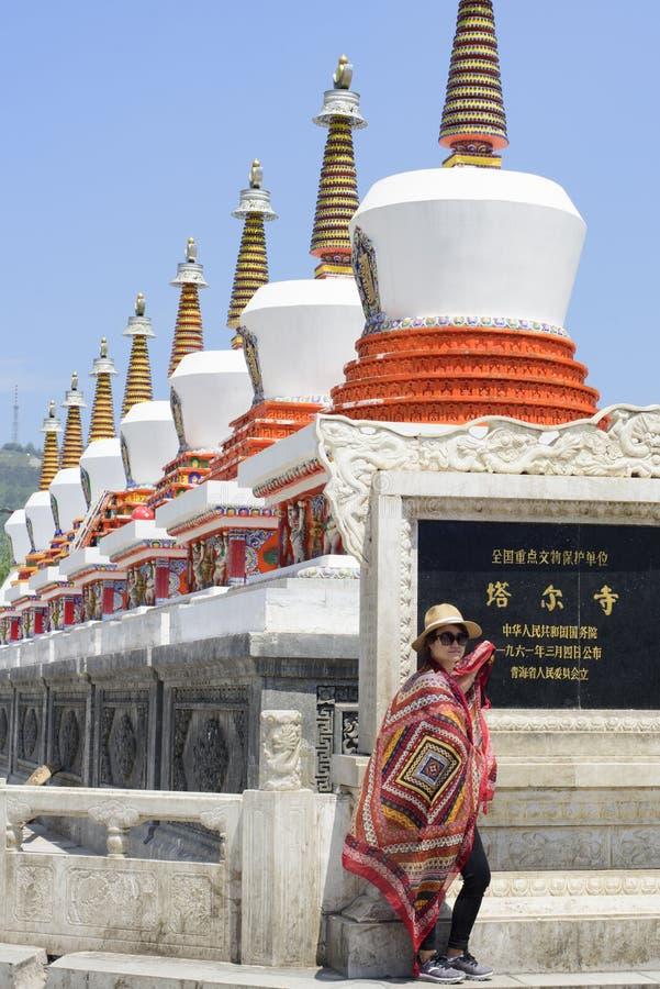 A woman photographed in Kumbum Monastery(Ta'ersi Temple) stock photos