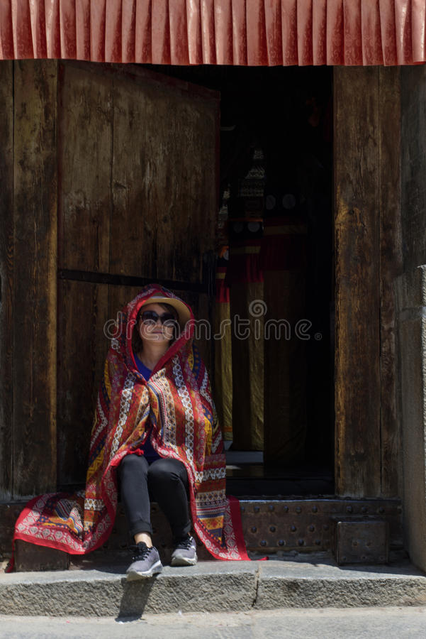 A woman photographed in Kumbum Monastery royalty free stock photos