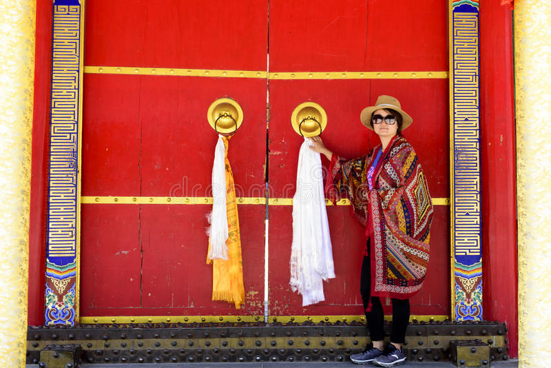 A woman photographed in Kumbum Monastery royalty free stock photography