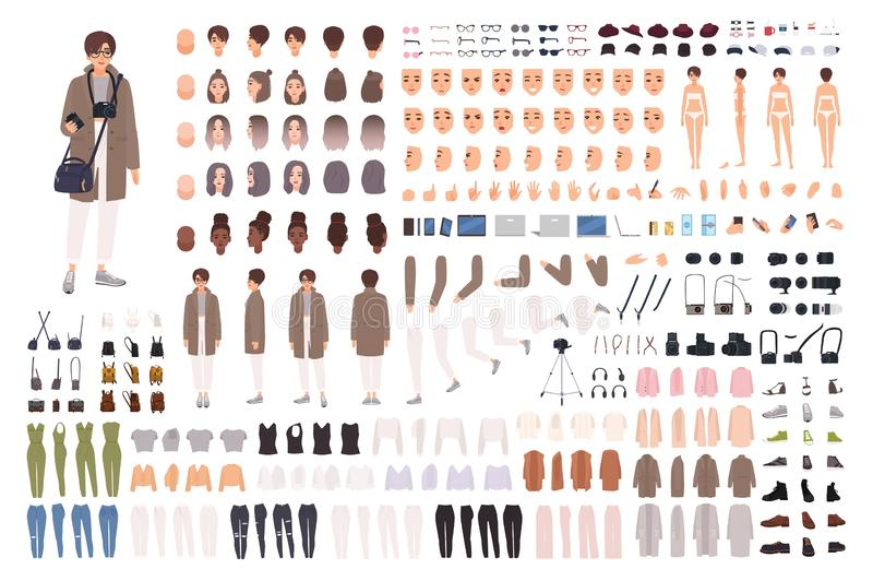 Woman photographer, animation kit or creation set. Bundle of body parts, clothes, accessories, photo camera. Female. Cartoon character. Front, side, back views royalty free illustration