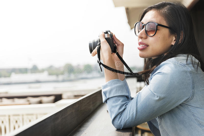 Woman Photographer Hipster Street Ware Traveler Concept royalty free stock photos