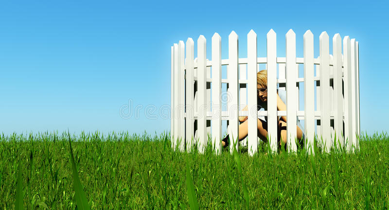 Woman trapped in picket fence royalty free illustration