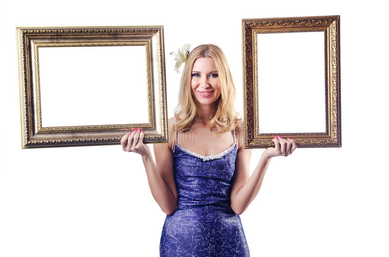 Download Woman With Picture Frames On White Stock Photo - Image: 26480576