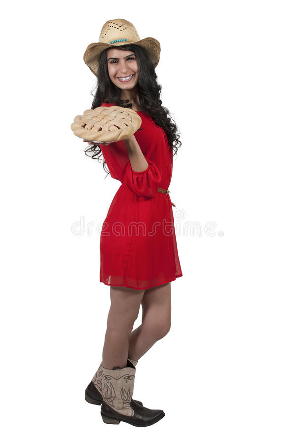 Woman with Pie royalty free stock photo