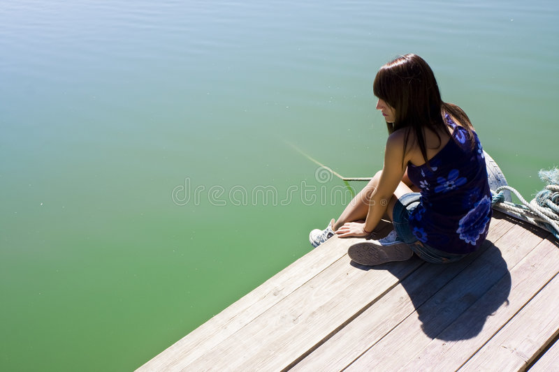 Download Woman in pier stock image. Image of lady, lonely, morning - 7353127