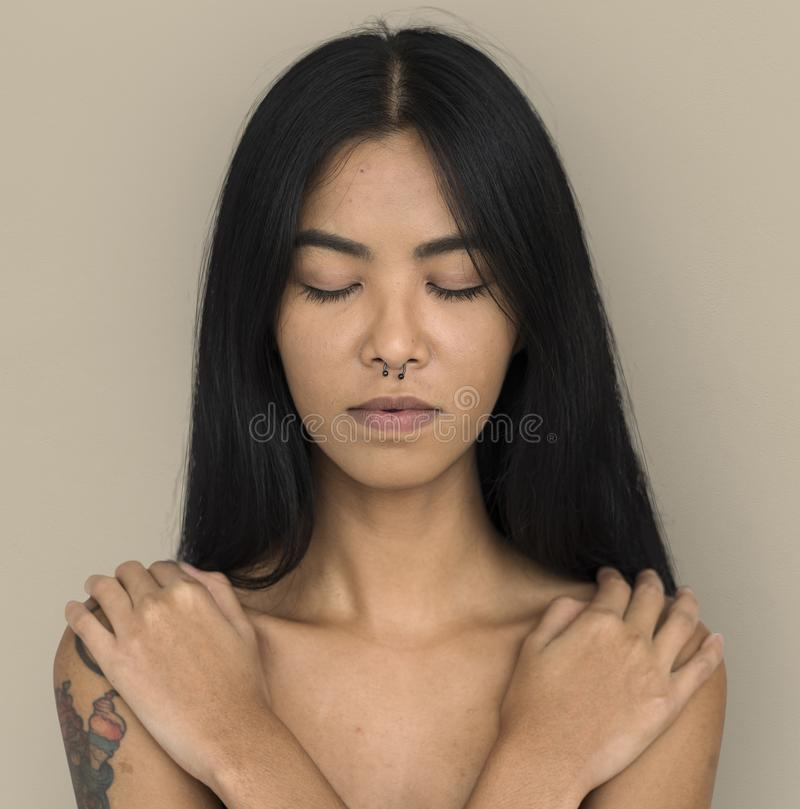 Woman Pierced Nose Ring Bare Chest Arts Calm Peaceful stock photos