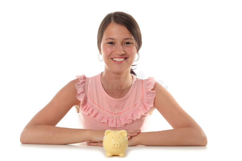 Woman and Piggy Bank stock photography