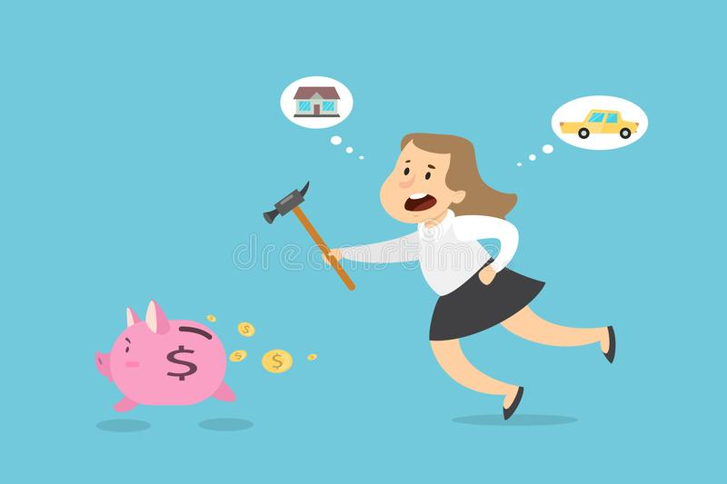 Woman with piggy bank. Businesswoman with hammer trying to catch running away piggy bank stock illustration