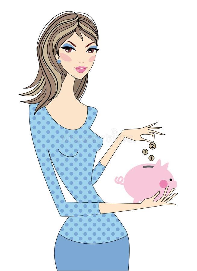Woman with piggy bank, vector. Woman saving money with piggy bank, vector stock illustration