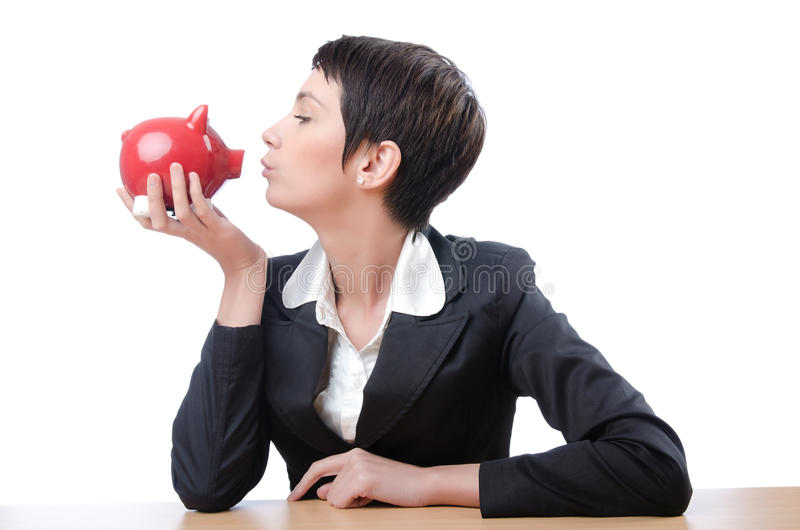 Download Woman And Piggybank Royalty Free Stock Photo - Image: 24566675