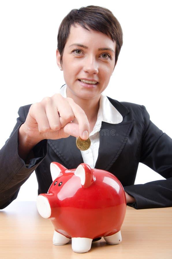 Download Woman And Piggybank Stock Photography - Image: 24759902