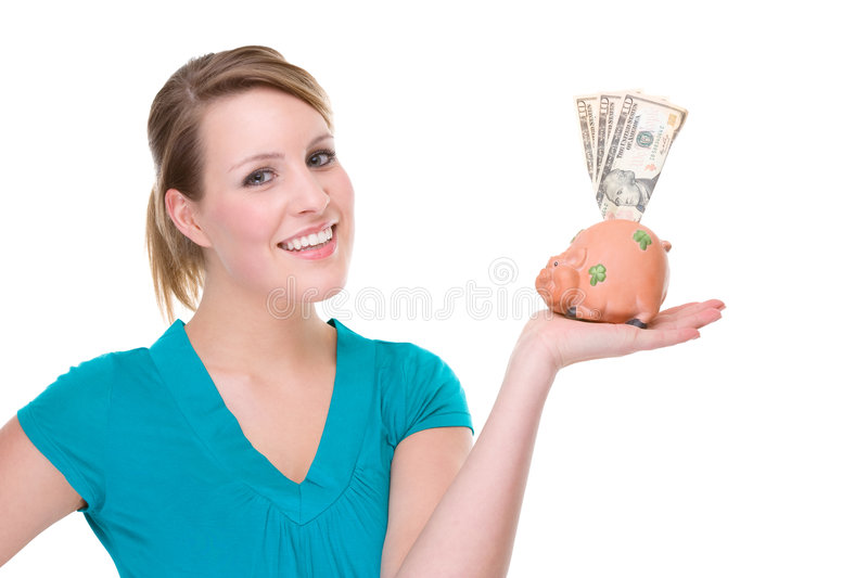 Woman With Piggybank royalty free stock photography