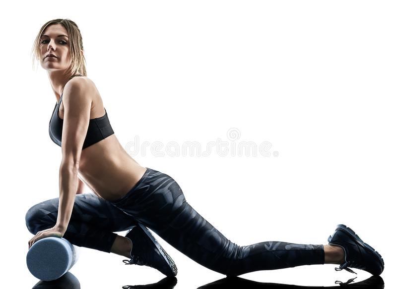 Woman pilates fitness foam roller exercises silhouette isolated stock images