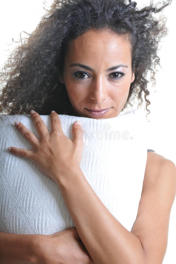 Download Woman with pillow stock image. Image of cheerful, beauty - 14282421